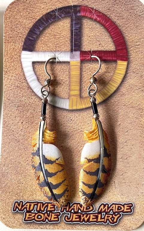 Bone carved Owl feather painted earrings