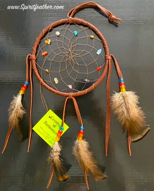 Authentic Native American Large Spirit Stone Brown Dream Catcher 6
