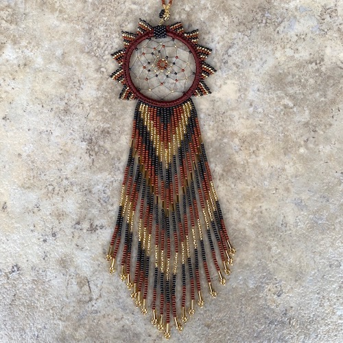 Gracious and Very Long Hand Beaded Brown and Gold Beautiful Dream Catcher