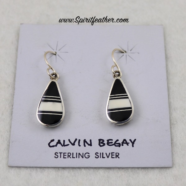 White Buffalo and Onyx Sterling Silver Earrings