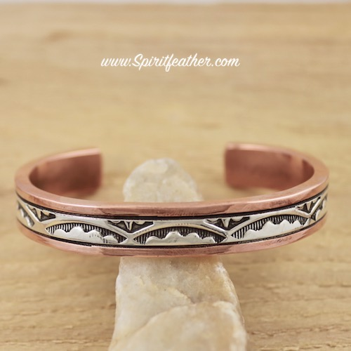 Copper and Sterling Silver Cuff Bracelet Thick and Heavy for a Standard Woman's size wrist