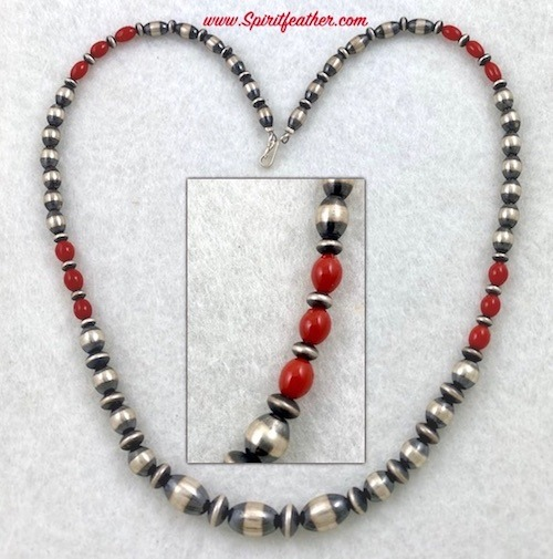Navajo Pearl Sterling Silver Necklace with Coral Beads