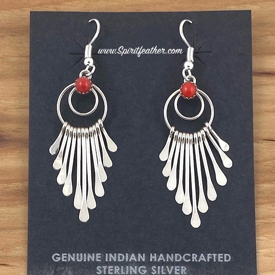 Sterling Silver tapered dangle earrings by Pauline Armstrong with Coral Nuggets