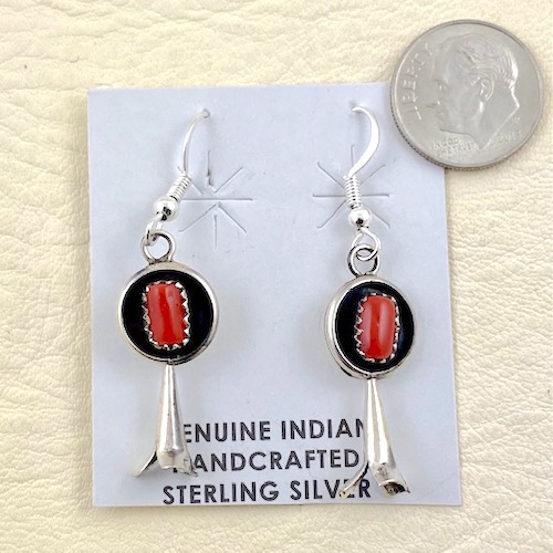Navajo Sterling Silver and Coral Earrings - Squash Blossom Design
