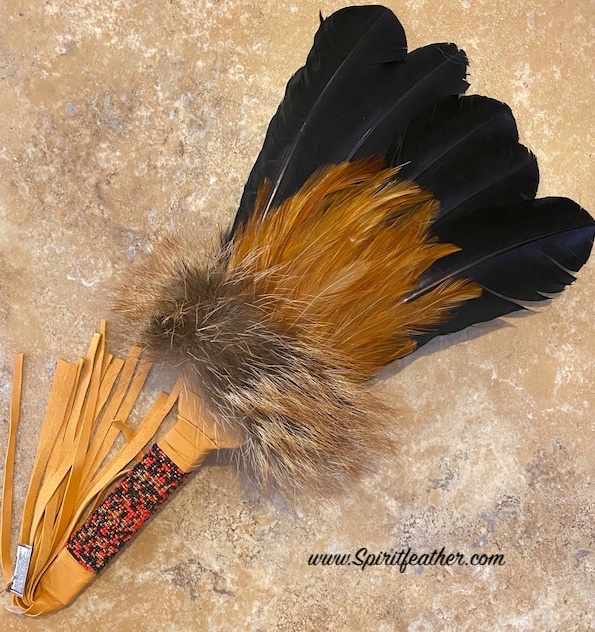 Native American Prayer Fan Beaded Flat Handle