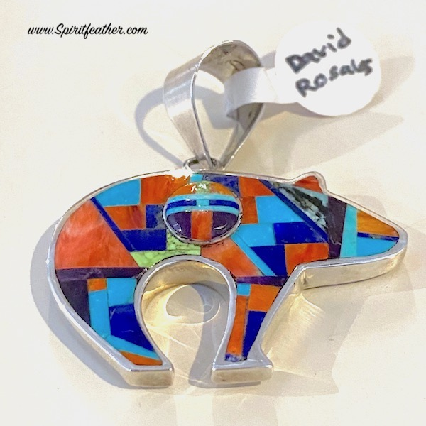 Multi-Colored Two-sided Inlaid Bear Pendant with Sun Face - David Rosales design
