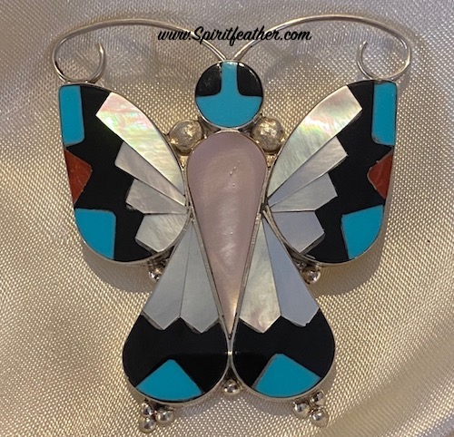 Zuni Inlaid Butterfly Pin and Pendant - Large size