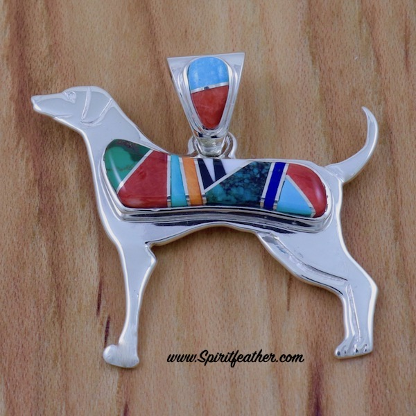 Multi-colored dog pendant by Marty Yazzie