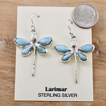 Sterling Silver Larimar Dragonfly Earrings