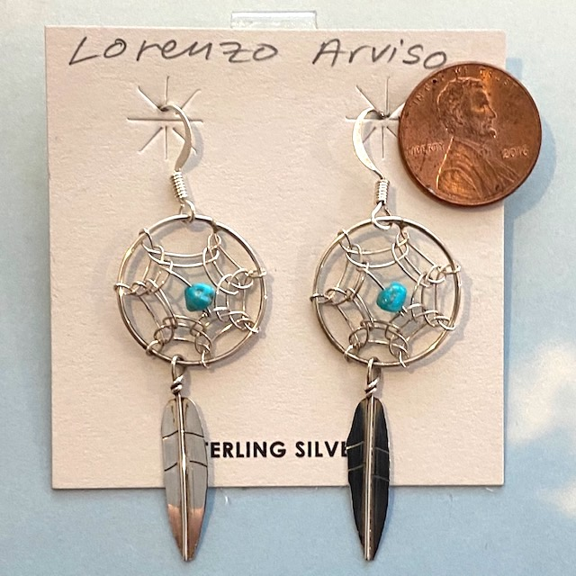 Sterling Silver Dream Catcher Earring with feathers