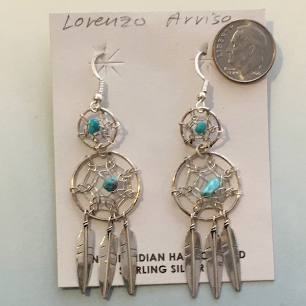 Double Navajo Sterling Silver Dream Catcher Earring with drop feathers