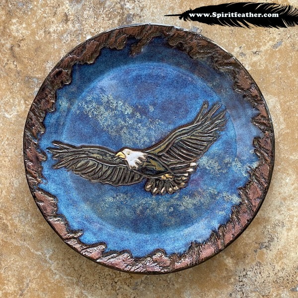 Hand made and carved Eagle in Flight plate with bark border - food safe and/or display