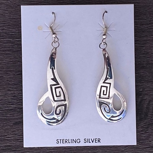 Sterling Silver Swirl Hopi Style Earrings
