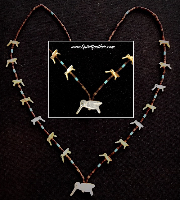 Hummingbird necklace in Mother of Pearl carvings