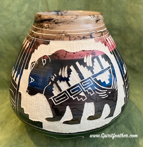 Horse Hair Pottery with Bear Effigy