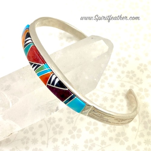 Sterling Silver Inlaid Multi-Colored Cuff Bracelet