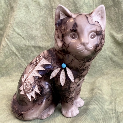 Horse hair cat pottery - such as sweet face
