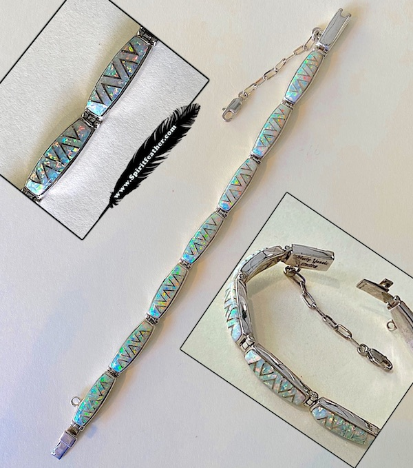 Beautiful Opal Inlay work and Sterling Silver Link Bracelet
