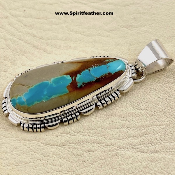 Boulder Turquoise with Beautiful Layered Sterling Silver Pendant aka Ribbon Turquoise
