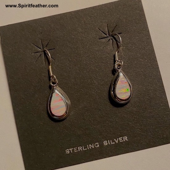 White Opal Teardrop and Sterling Silver Earrings