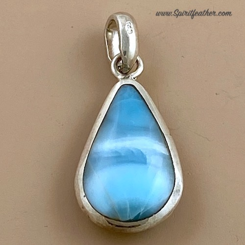 Larimar Tear Drop pendant with beautiful silky texture in different shades