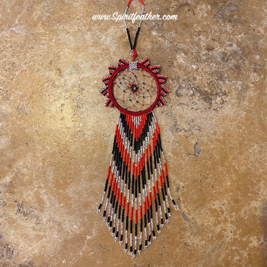 Gracious and Very Long Hand Beaded Red, Black and Silver Beautiful Dream Catcher