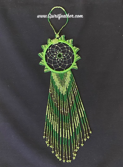 Gracious and Very Long Hand Beaded Green Beautiful Dream Catcher