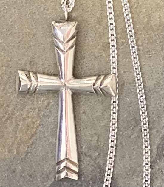 Large Solid Sterling Silver Cross and Sterling Silver Chain