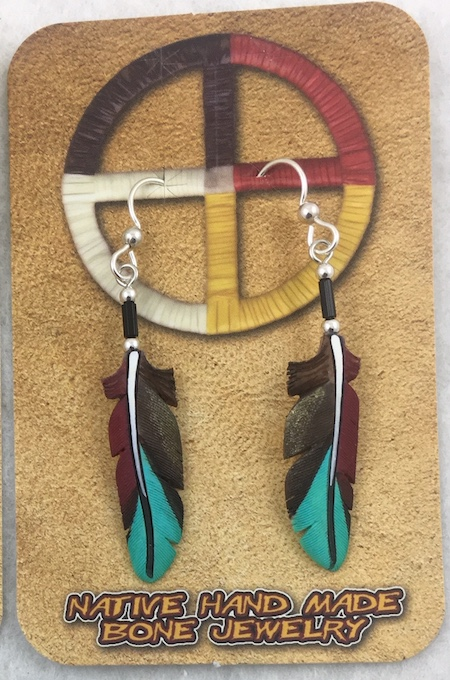 Bone carved Macaw feather painted earrings