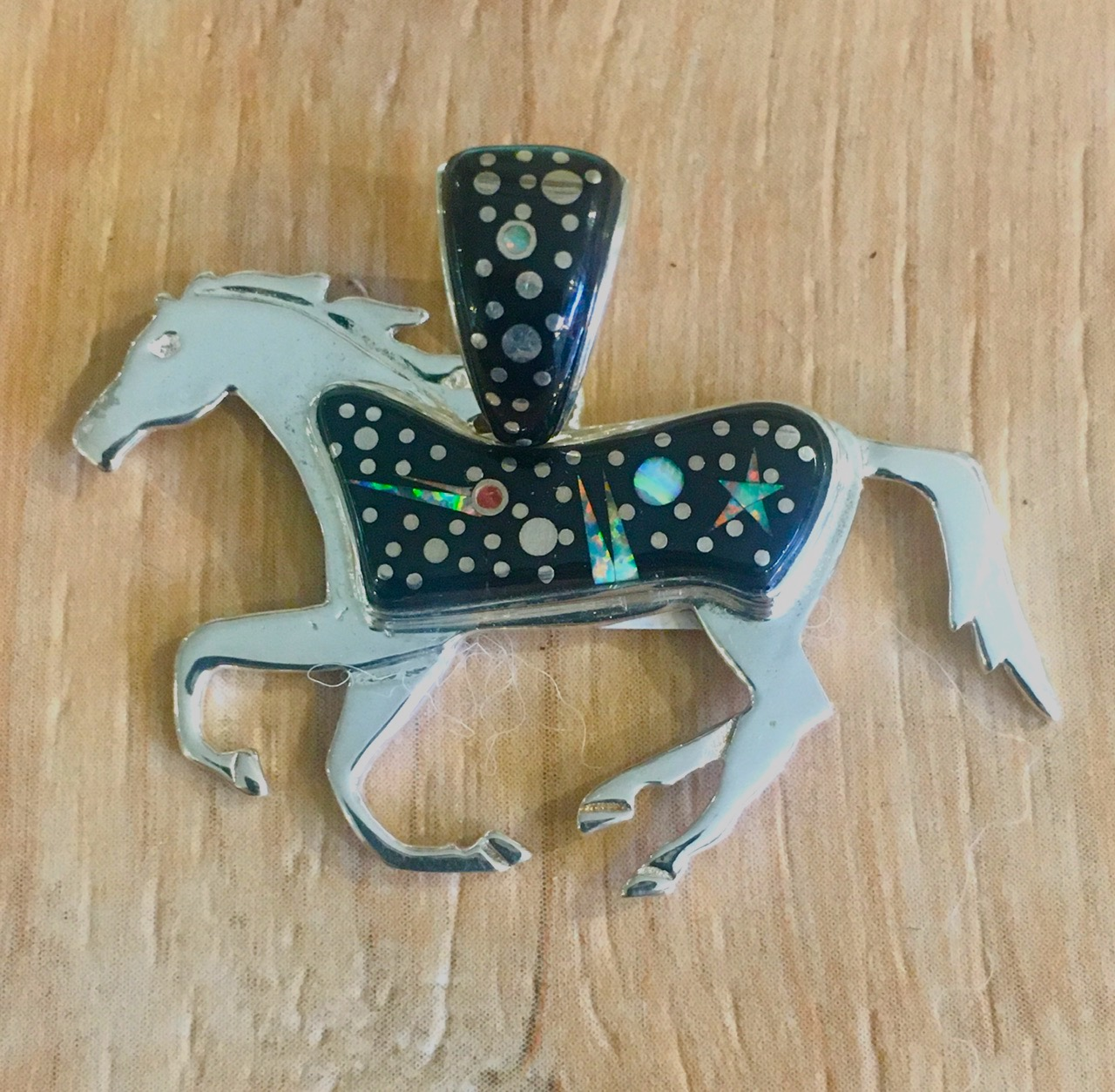 Sterling Silver Inlay Horse Pendant in Starry Night Design