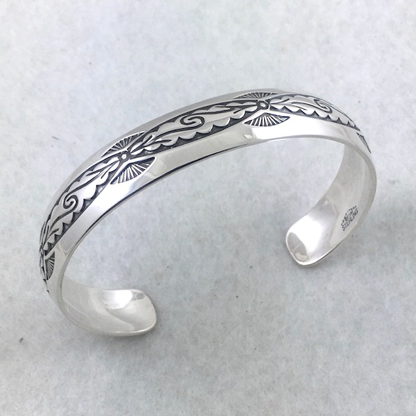 Sterling Silver Cuff Bracelet Pueblo Scroll Woman's wrist
