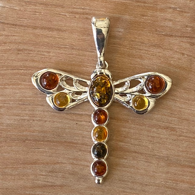 Sterling Silver Amber Dragonfly Pendant