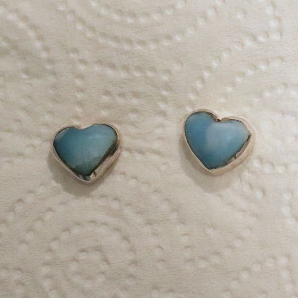 Sterling Silver Larimar Heart Earrings