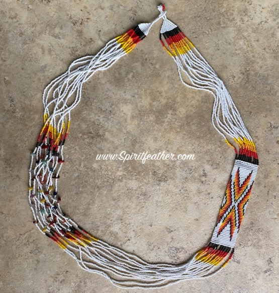 Hand Beaded Necklace White with Fire Beads