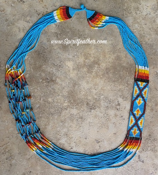 Hand Beaded Necklace Turquoise with Four Directions
