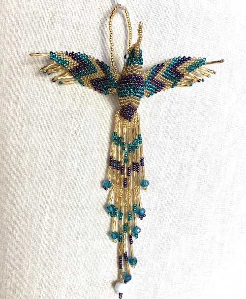Hand Beaded Hummingbird Ornament Gold Purple Blue