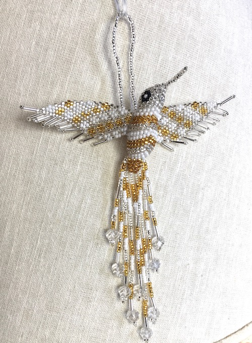 Hand Beaded Hummingbird Ornament Silver and Gold