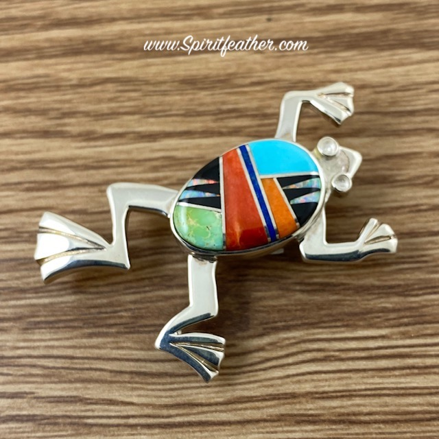 Sterling Silver Multi-Colored Inlay Frog Pendant and Pin