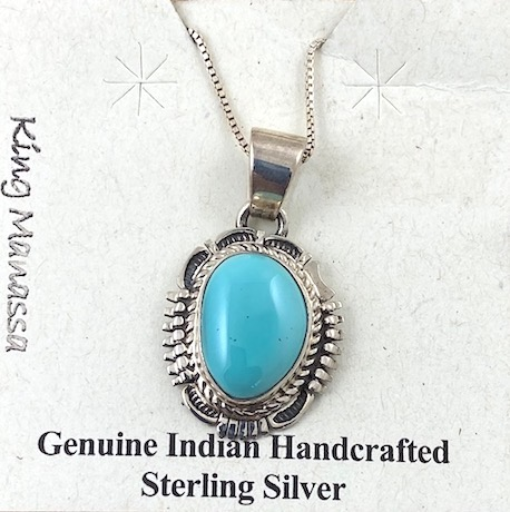 Kings Manassa Turquoise and Sterling Silver Pendant