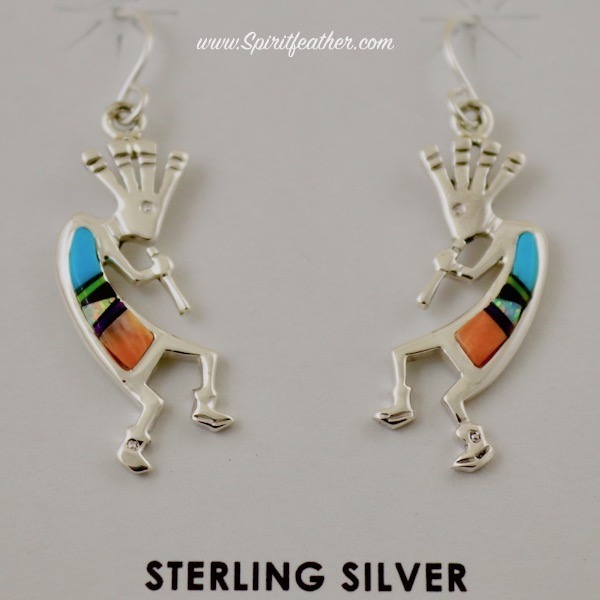 Kokopelli Sterling Silver Earrings inlaid with Multi Colored Stones and Shells