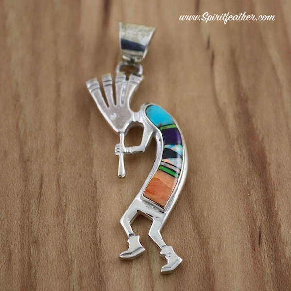 Kokopelli Sterling Silver Pendant inlaid with Multi Colored Stones and Shells