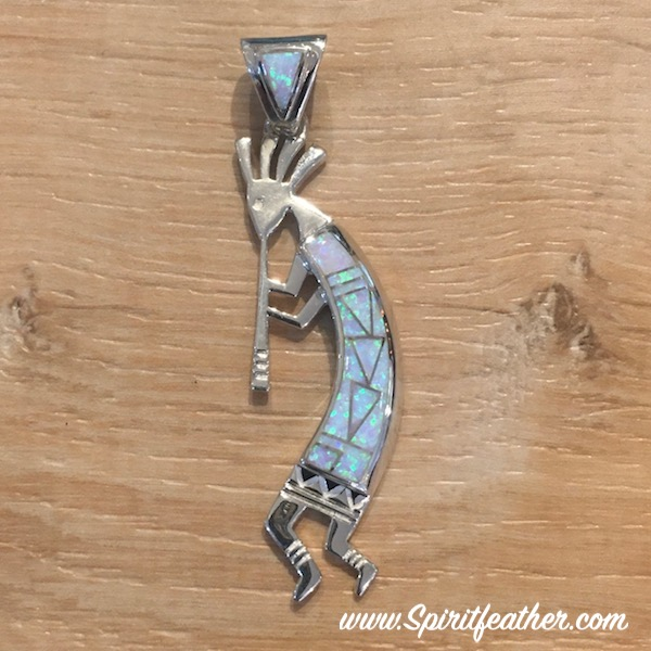 Kokopelli Sterling Silver Pendant inlaid with Opal