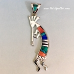 Multi-Color Inlay Kokopelli Pendant