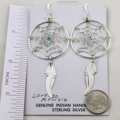 Extra Large Navajo Sterling Silver Dream Catcher Earring with drop feathers