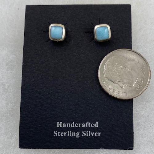 Larimar Sterling Silver Small Rectangle Earrings