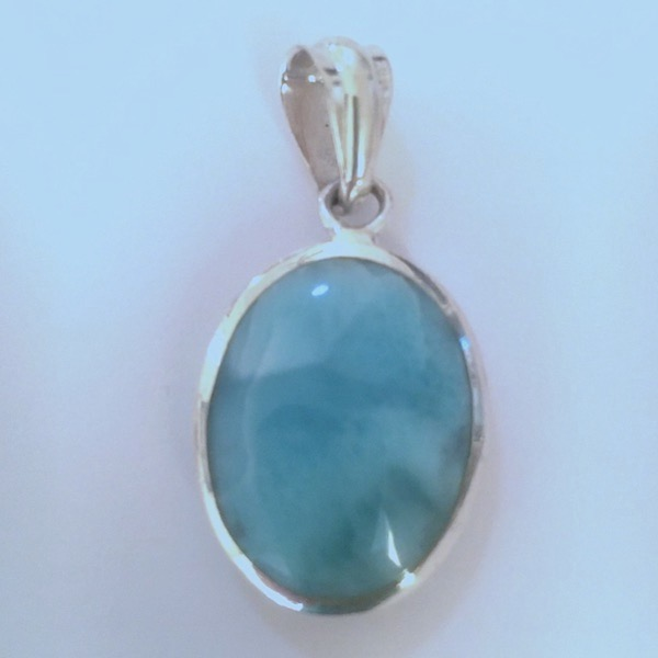 Oval Larimar 2-sided pendant with a beautiful silky texture in different shades