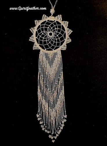 Gracious and Very Long Hand Beaded White Beautiful Dream Catcher