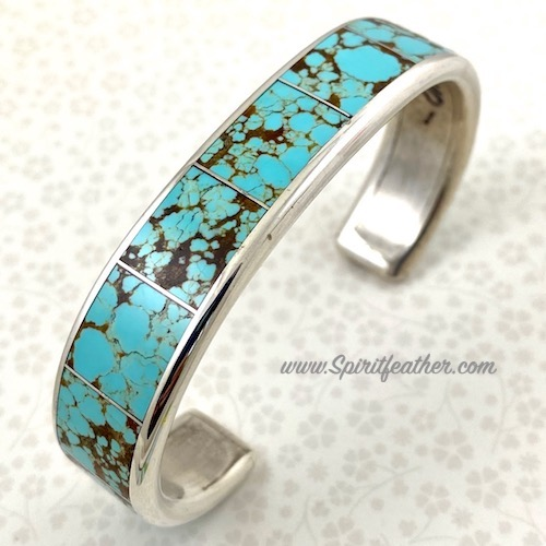 Larry Loretto Sterling Silver and Turquoise Bracelet - Large Size