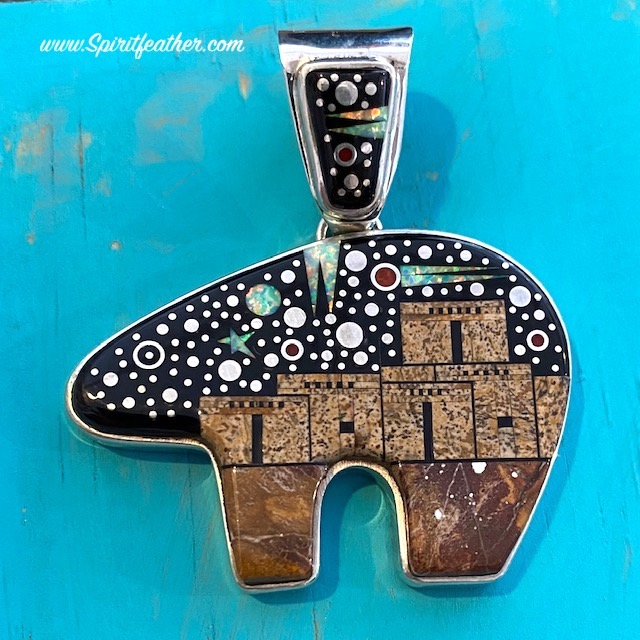 Large Starry Night and Pueblo Scene Bear Pendant by Matthew Jack