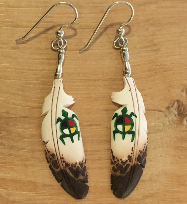 Bone carved eagle feather earrings with turtle medicine wheel